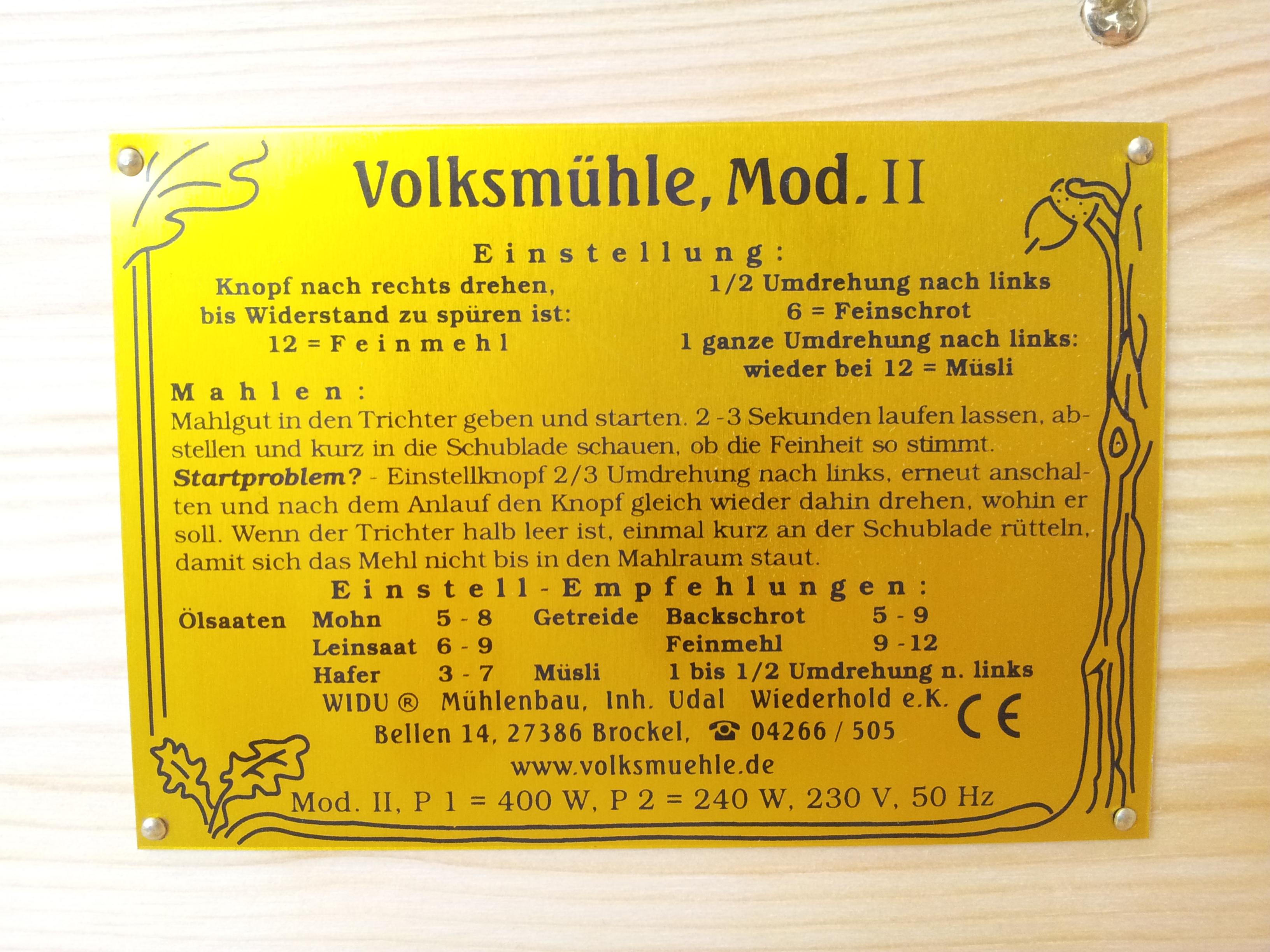 Förderschnecke für WIDU Haushaltsmühlen Getreidemühlen WIDU Mühlenbau 30-150 gr Handkurbel inkl
